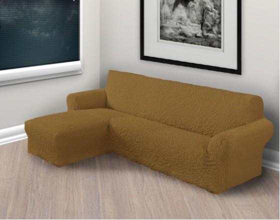 Чехол на угловой диван с левым выступом рыже коричневый L-003