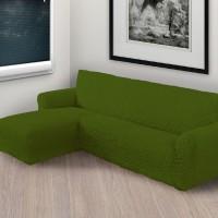 Чехол на угловой диван с левым выступом зеленый L-006