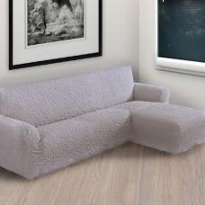 Чехол на угловой диван с правым выступом дымчатый P-009