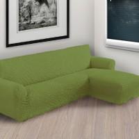 Чехол на угловой диван с правым выступом фисташковый P-007