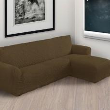 Чехол на угловой диван с правым выступом коричневый P-001