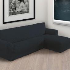 Чехол на угловой диван с правым выступом темно серый P-004