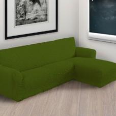 Чехол на угловой диван с правым выступом зеленый P-006