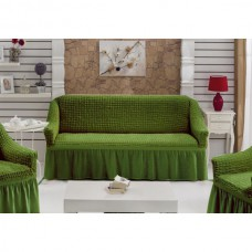 Чехол на диван двухместный с юбкой на резинке зеленый RT-09