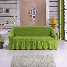 Чехол на трехместный диван с юбкой фисташковый W-18