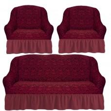 Комплект чехлов на диван и 2 кресла с оборкой вензеля жаккард цвет: бордовый