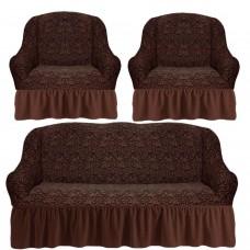Комплект чехлов на диван и 2 кресла с оборкой вензеля жаккард цвет: коричневый