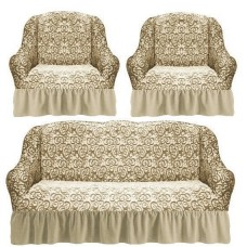 Комплект чехлов на диван и 2 кресла с оборкой вензеля жаккард цвет: бежевый