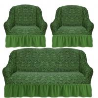 Комплект чехлов на диван и 2 кресла с оборкой вензеля жаккард цвет: фисташковый