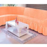 Чехол на угловой диван персиковый M-15