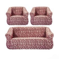 """Чехол на диван и 2 кресла """"Brokar"""" бордовый TM-10"""