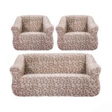 """Чехол на диван и 2 кресла """"Brokar"""" коричневый TM-09"""