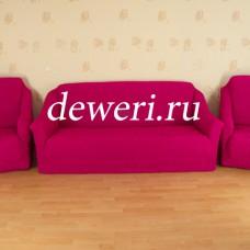 Комплект натяжных чехлов на диван 3-х местный и 2 кресла без оборки фуксия MC-06