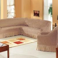 Чехол на угловой диван и одно кресло кресло какао ML-11