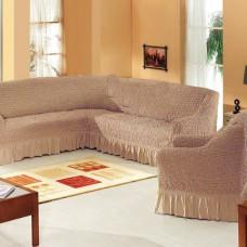 Набор универсальных натяжных чехлов на угловой диван и одно кресло какао ML-11