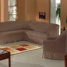 Набор универсальных натяжных чехлов на угловой диван и одно кресло кофейный ML-10