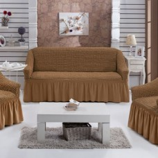 Комплект натяжных чехлов на 3-х местный диван и 2 кресла корица S-34