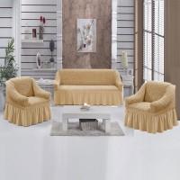 Чехол на диван и 2 кресла медовый S-35