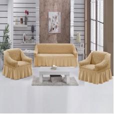 Комплект натяжных чехлов на диван и 2 кресла медовый S-35