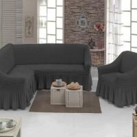 Набор универсальных натяжных чехлов на угловой диван и одно кресло темно-серый ML-13