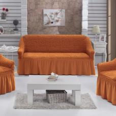 Комплект натяжных чехлов на 3-х местный диван и 2 кресла терракот S-33