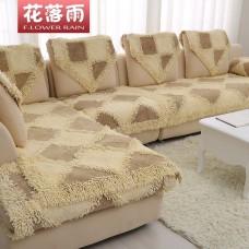 Накидки на диван и кресла песочный с коричневыми ставками BW-20