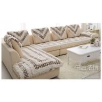 Накидки на угловой диван и кресла молочные с коричневыми вставками BW-06