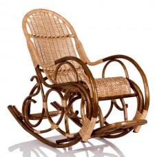 Кресло-качалка плетеное с подножкой из лозы. Ведуга, Орех.