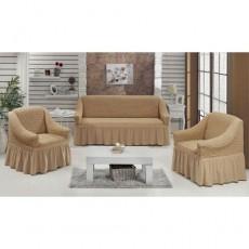 Комплект натяжных чехлов на диван и 2 кресла бежевый