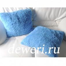 Наволочка декоративная бамбуковая голубая 50х50 см. H-06
