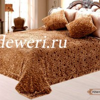 Покрывало на кровать камешки кофе QW-114