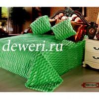 Покрывало из искусственного меха кубик зеленый QW-110