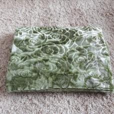 Покрывало из искусственного меха розочка зеленый 3D QW-301