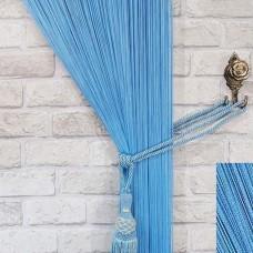 Нитяные шторы однотонные голубой TT-110
