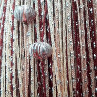 Нитяные шторы, кисея радуга с люрексом и бусинами шампань, бежевый, коричневый TT-400