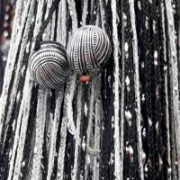 Нитяные шторы, кисея радуга с люрексом и бусинами белый, черный TT-402