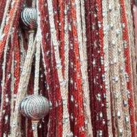 Нитяные шторы, кисея радуга с люрексом и бусинами бежевый, светло-коричневый, коричневый TT-403