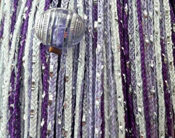 Нитяные шторы, кисея радуга с люрексом и бусинами фиолетовый, сиреневый, белый TT-404