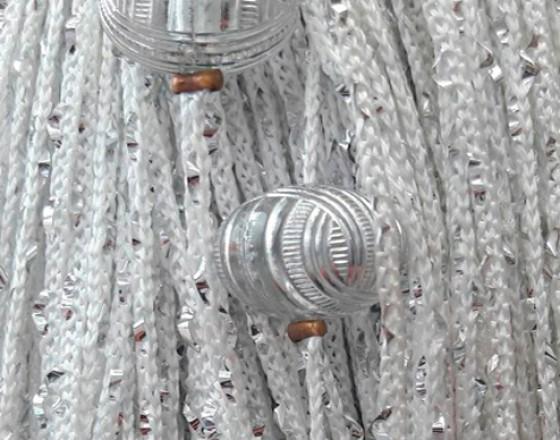 Нитяные шторы, кисея однотонная с люрексом и бусинами белый TT-405