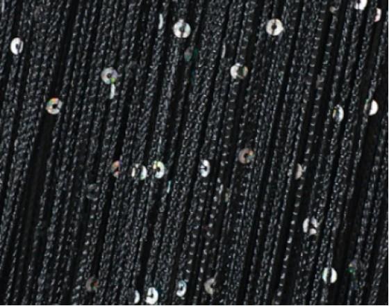 Нитяные шторы, кисея однотонная с пайетками черный TT-503