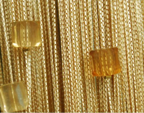 Нитяные шторы однотонные с камешками бежевые TT-701