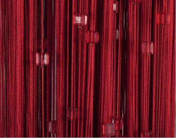Нитяные шторы однотонные с камешками бордовый TT-704