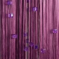 Нитяные шторы однотонные с камешками фиолетовый TT-722