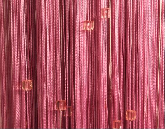 Нитяные шторы однотонные с камешками фуксия TT-723