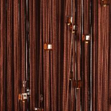 Нитяные шторы однотонные с камешками коричневые TT-700
