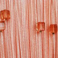 Нитяные шторы однотонные с камешками персиковый TT-712