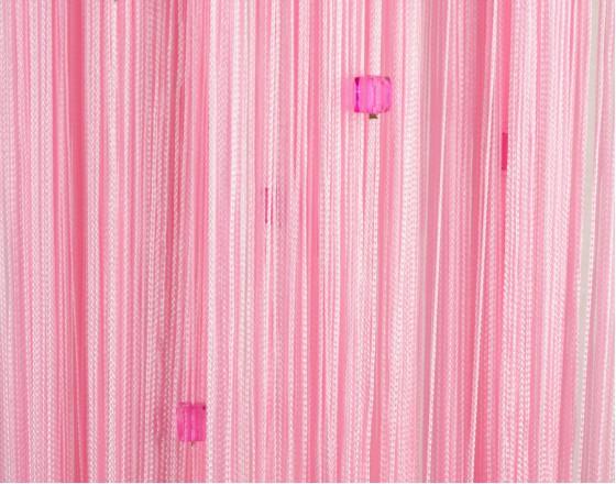 Нитяные шторы однотонные с камешками розовый TT-713