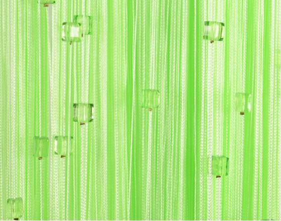 Нитяные шторы однотонные с камешками салатовый TT-714