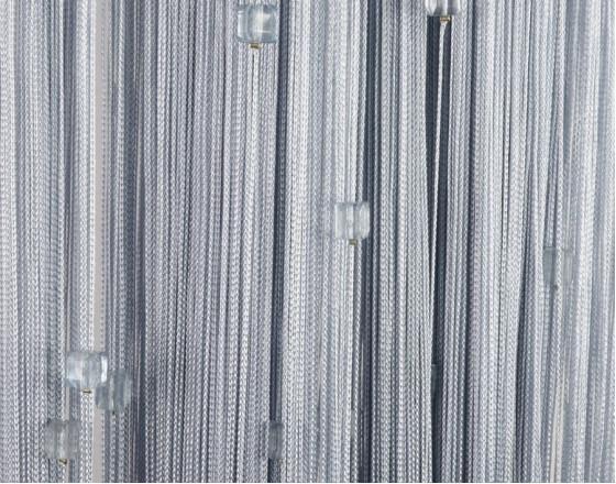 Нитяные шторы однотонные с камешками серый TT-717