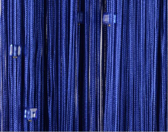Нитяные шторы однотонные с камешками синий TT-718